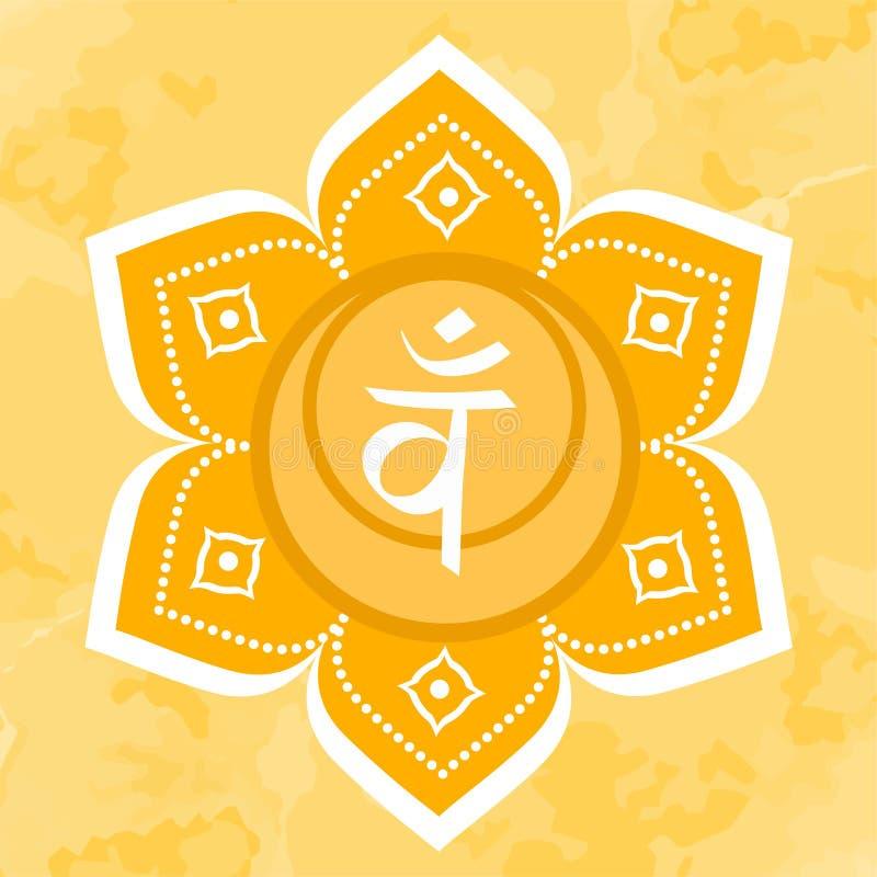 Icono de Swadhisthana el segundo chakra sacro Círculo anaranjado del vector Muestra de la meditaci?n stock de ilustración
