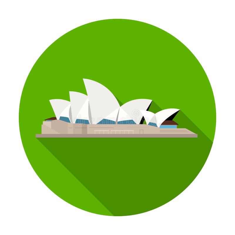 Icono de Sydney Opera House en estilo plano aislado en el fondo blanco Ejemplo del vector de la acción del símbolo de los países libre illustration