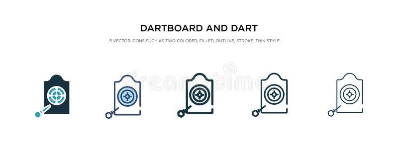 Icono de tablero y dardo en una ilustración vectorial de estilo diferente dos iconos dartboard y vectoriales de color negro y dar libre illustration