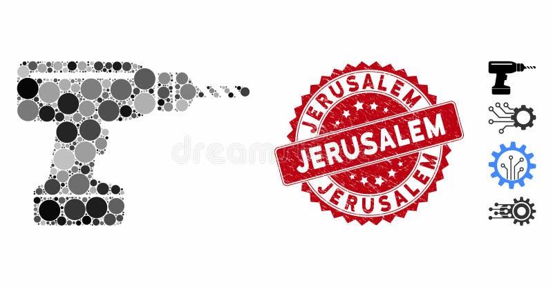 Icono de taladro con sello de Jerusalén en peligro libre illustration