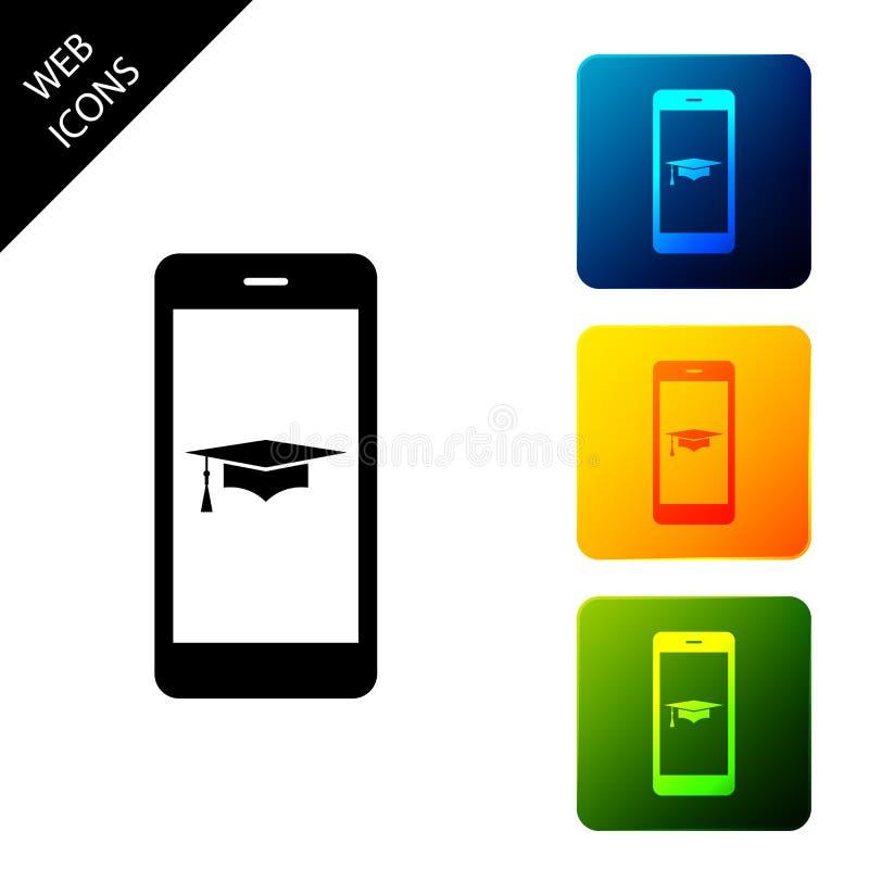 Icono de tapa de graduación y smartphone Icono de concepto de aprendizaje en línea o e-learning aislado en fondo blanco Establece stock de ilustración