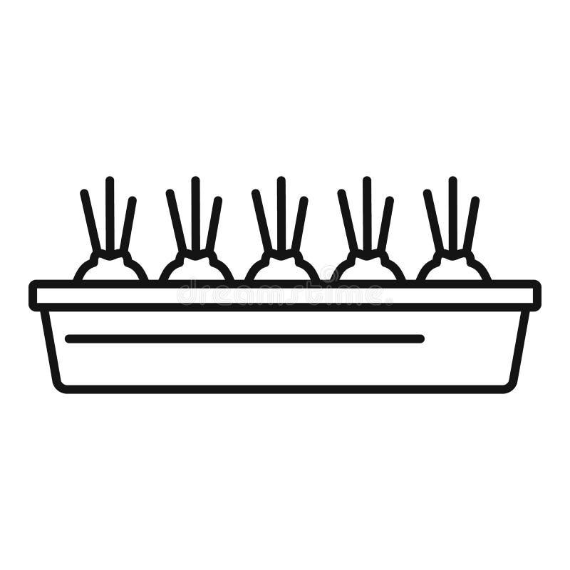 Icono de tierra del pote de la cebolla, estilo del esquema ilustración del vector