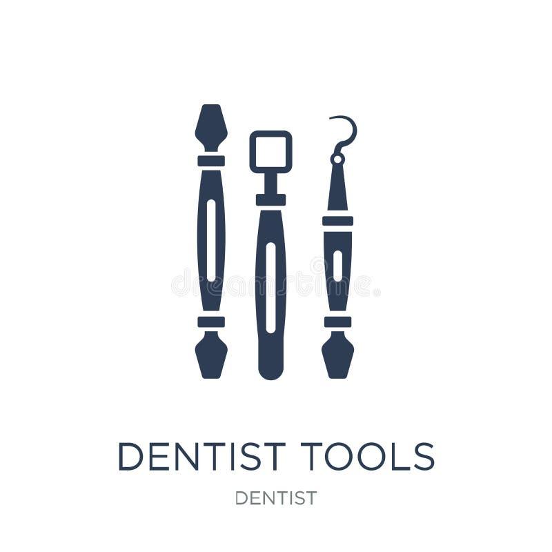 Icono de Tools del dentista Icono plano de moda de las herramientas del dentista del vector en whi libre illustration