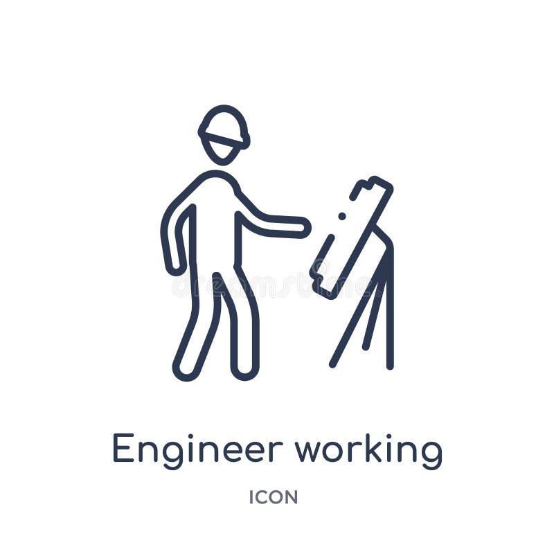 Icono de trabajo del ingeniero linear de la colección del esquema del comportamiento Línea fina vector de trabajo del ingeniero a libre illustration