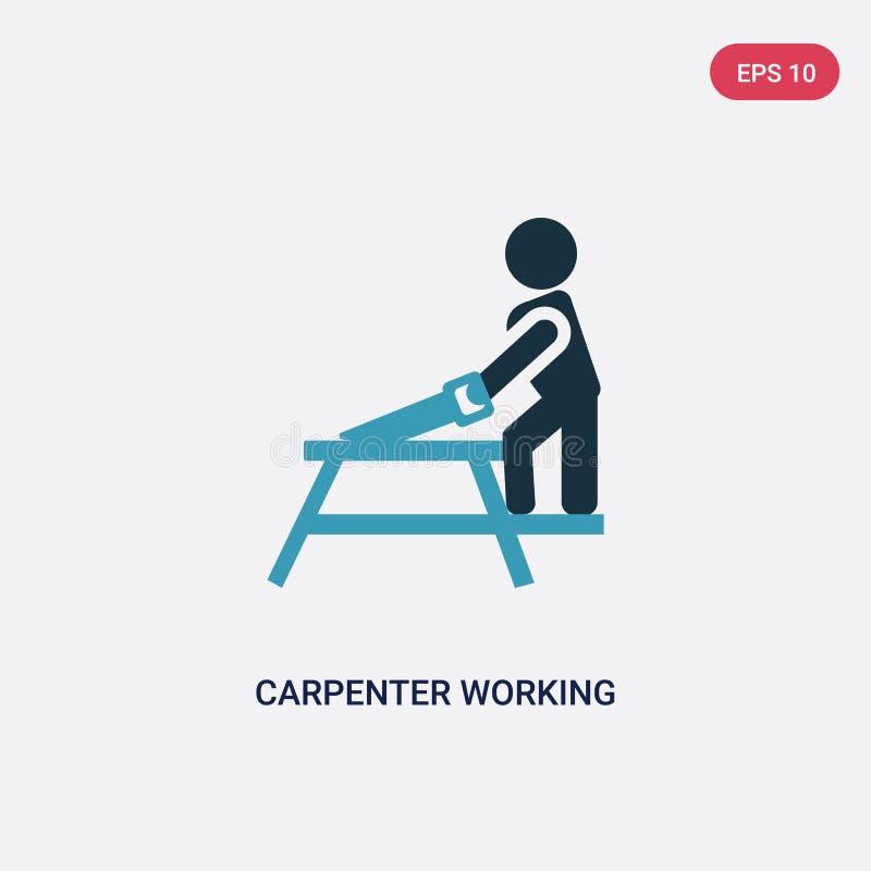 Icono de trabajo del vector del carpintero bicolor del concepto de la gente el símbolo de trabajo aislado de la muestra del vecto libre illustration
