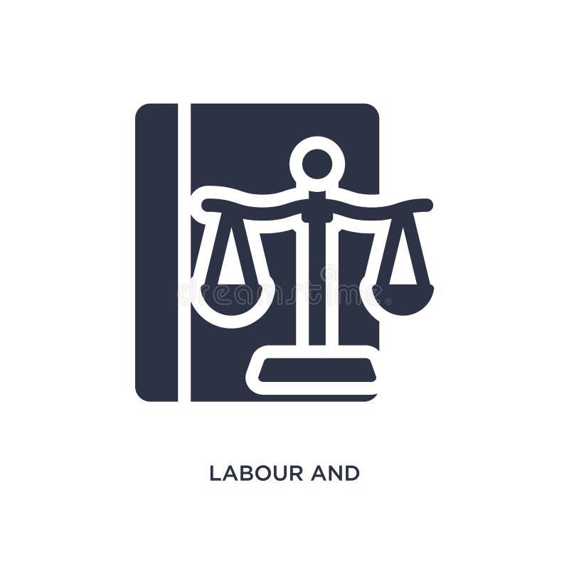 icono de trabajo y social de la ley en el fondo blanco Ejemplo simple del elemento del concepto de la ley y de la justicia stock de ilustración