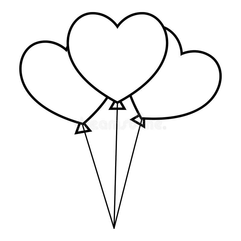 Icono de tres corazones, estilo del esquema ilustración del vector