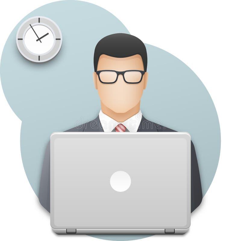 Icono de un hombre de negocios en vidrios con el ordenador portátil Hombre joven acertado vestido en el funcionamiento gris del t ilustración del vector