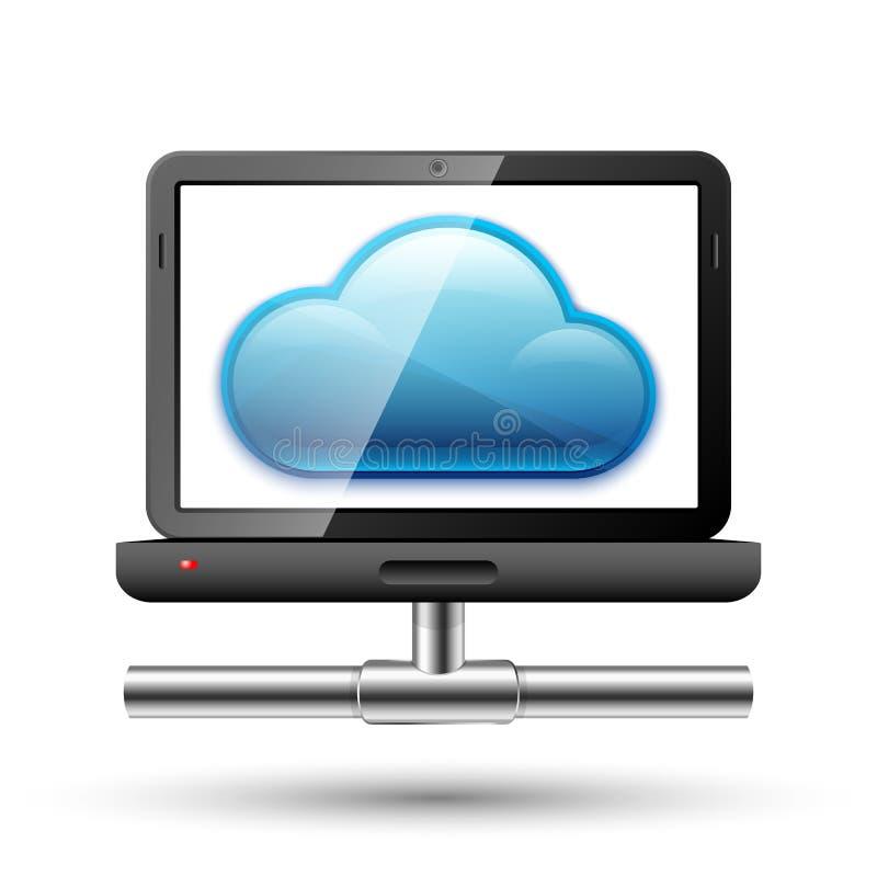 Icono de un ordenador portátil con una conexión de red y de la nube en una pantalla ilustración del vector