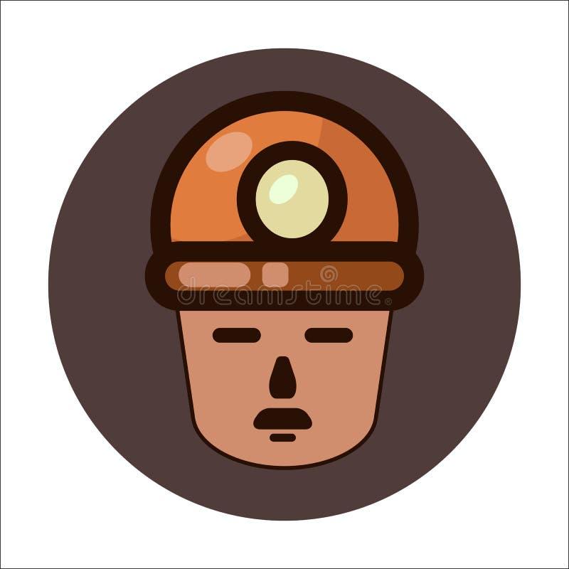 Icono de una cara del ` s del minero en un casco ilustración del vector