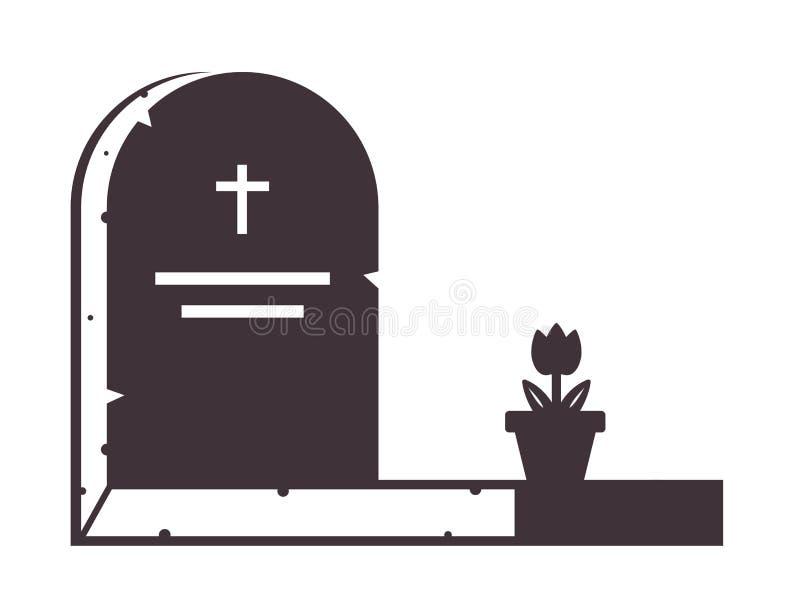 Icono de una l?pida mortuaria vieja con una flor en un pote stock de ilustración