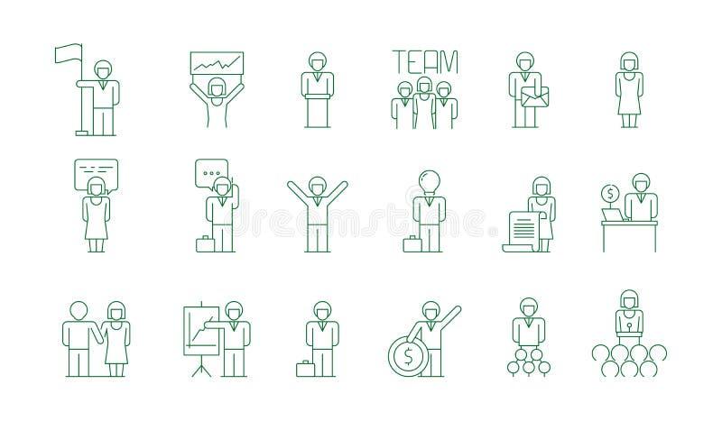 Icono de unidad de negocio Símbolos finos de socialización del vector de las comunicaciones del colega del freelancer de la reuni ilustración del vector