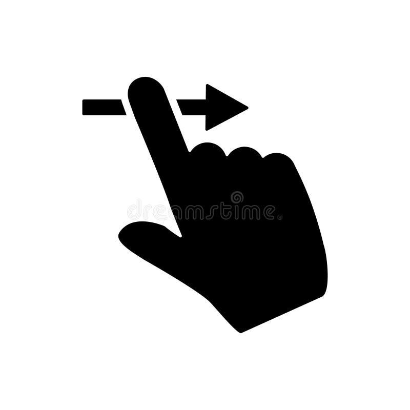 Icono de vector derecho, símbolo de ilustración de dedo de diapositiva. desbloquear signo de acción telefónica o logotipo stock de ilustración