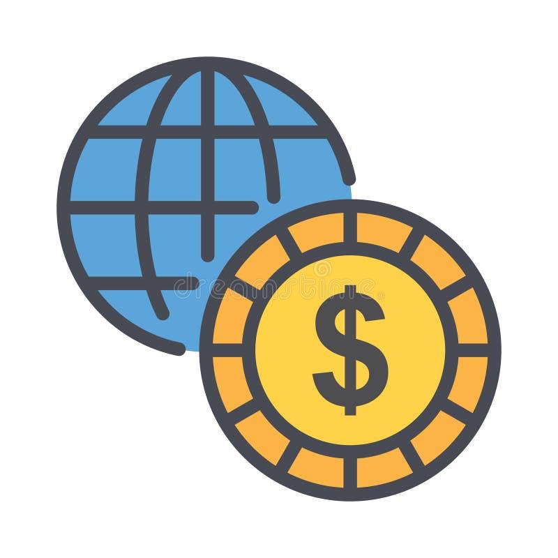 Icono de vector de esquema de negocio mundial. simple ilustración de elemento rellenada con esquema del concepto de negocio. Vect stock de ilustración