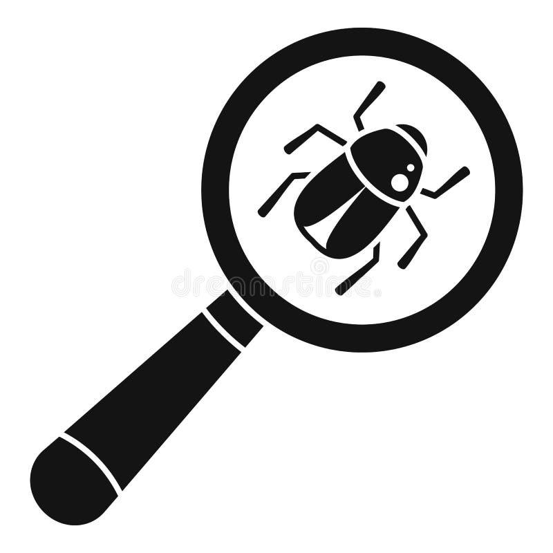 Icono de virus bug, estilo simple ilustración del vector