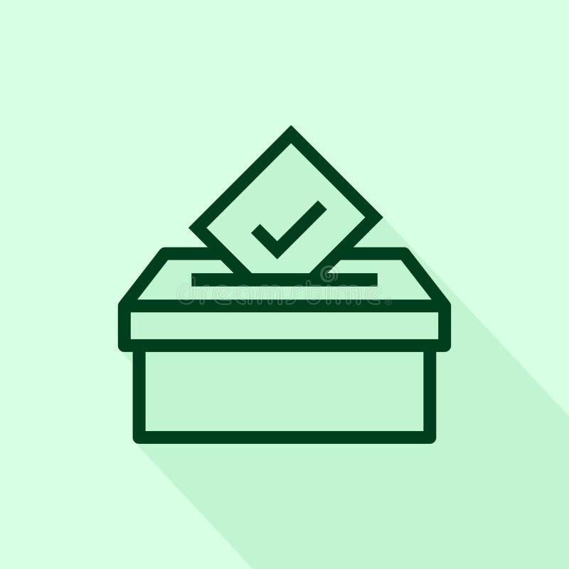 Icono de votación de la caja aislado en el fondo blanco de la colección de votación de las elecciones stock de ilustración