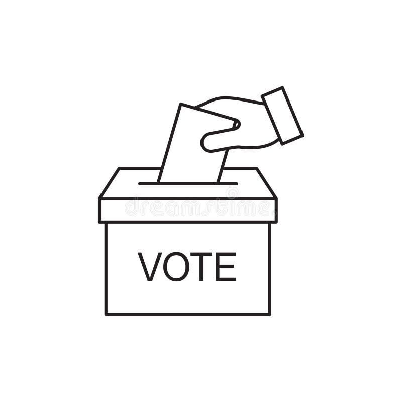 Icono de votación de la urna de la mano, concepto del voto de la elección 10 EPS ilustración del vector