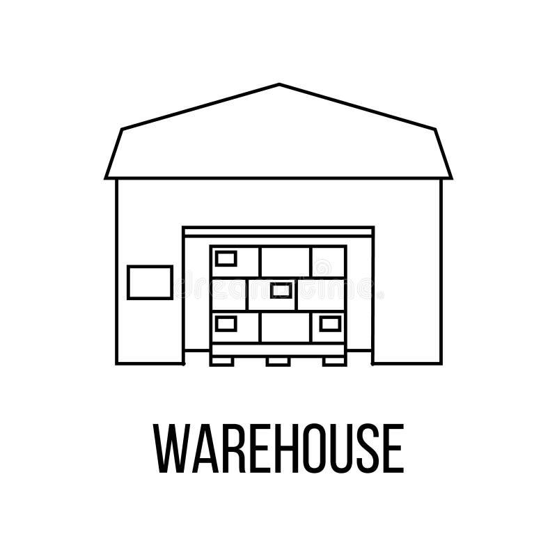 Icono de Warehouse o línea estilo del logotipo del arte stock de ilustración