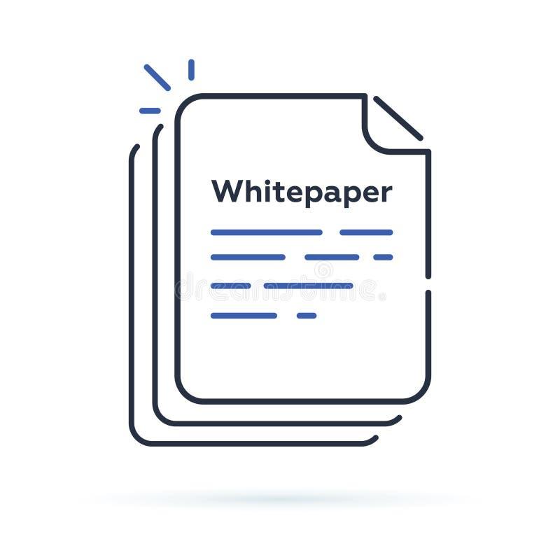 Icono de Whitepaper, documento principal de la inversión de ICO, estrategia de la compañía, libre illustration