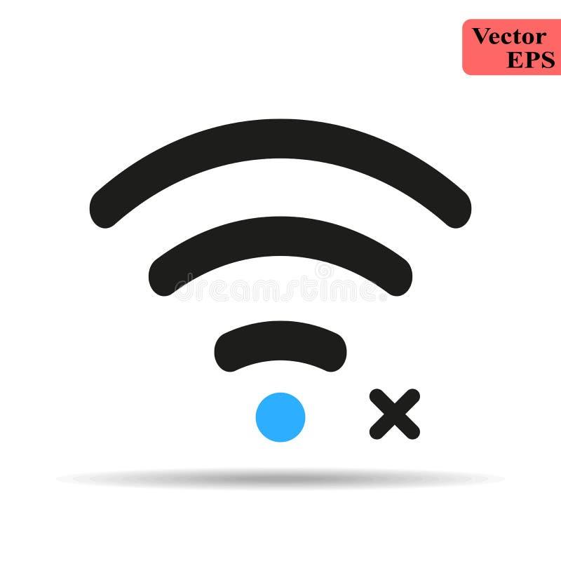 Icono de Wifi con la muestra no permitida El icono y el bloque de Wifi, prohibidos, prohíben concepto Engrana el icono ilustración del vector