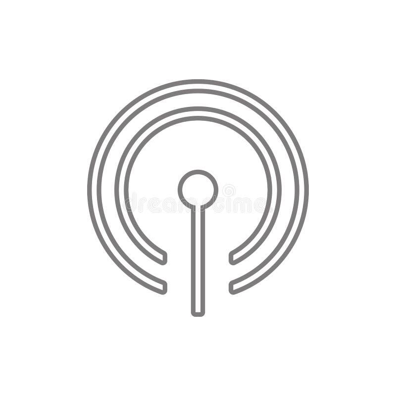 Icono de Wifi de la antena Elemento de la seguridad cibernética para el concepto y el icono móviles de los apps de la web Línea f stock de ilustración