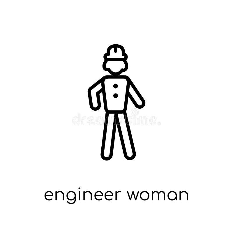 Icono de Woman del ingeniero Ingeniero linear plano moderno de moda W del vector libre illustration