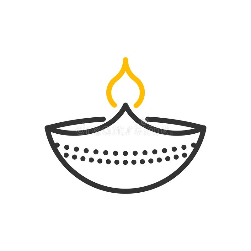 Icono decorativo de la lámpara del diwali Línea fina objeto del vector del diseño del ejemplo con la quema de la llama libre illustration