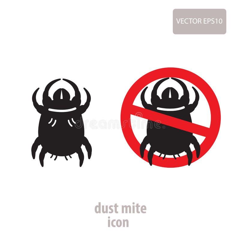 Icono del ácaro del polvo Ejemplo del vector de una muestra de la prohibición para los ácaros del polvo de la casa libre illustration