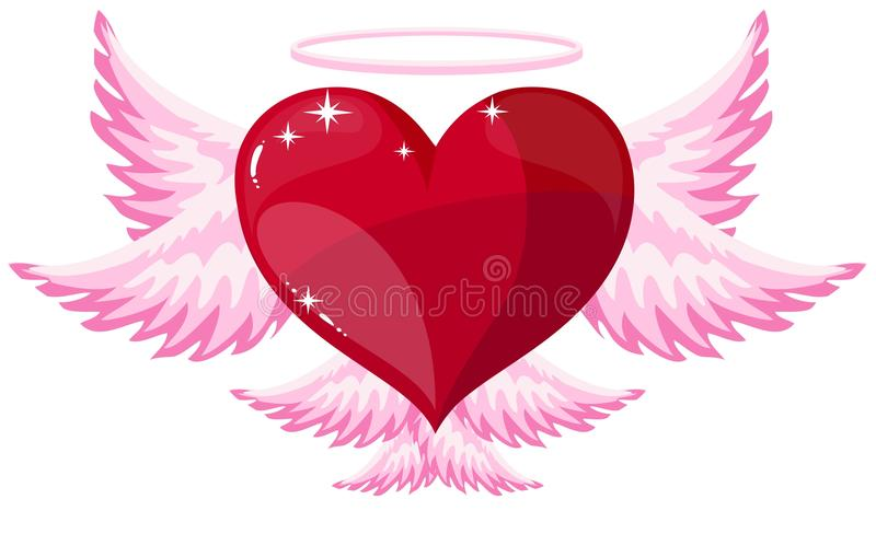 Icono del ángel del corazón del amor stock de ilustración