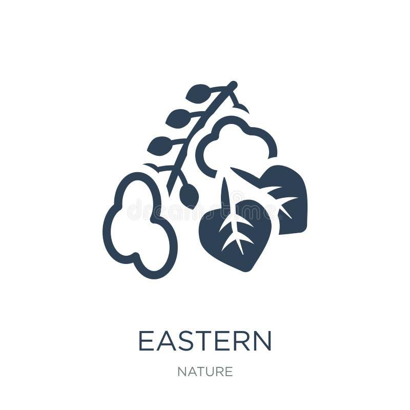 icono del árbol del cottonwood del este en estilo de moda del diseño icono del árbol del cottonwood del este aislado en el fondo  stock de ilustración