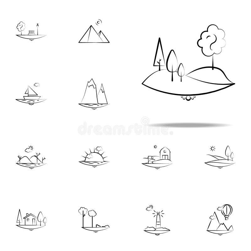 icono del árbol de la colina Sistema universal de los iconos de Landspace para la web y el móvil stock de ilustración