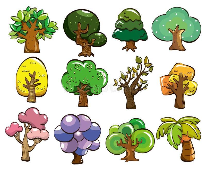 Icono del árbol de la historieta stock de ilustración