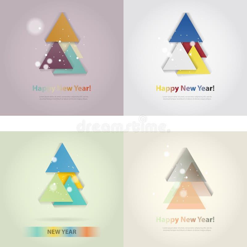 Icono del árbol de navidad o concepto abstracto del logotipo stock de ilustración