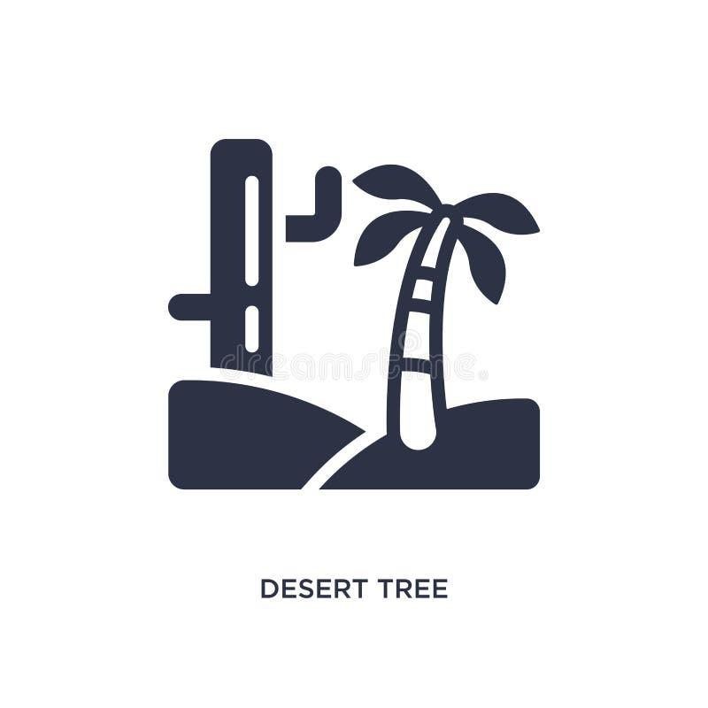icono del árbol del desierto en el fondo blanco Ejemplo simple del elemento del concepto del desierto ilustración del vector