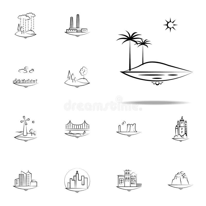 icono del árbol del palma del mar del sol Sistema universal de los iconos de Landspace para la web y el móvil stock de ilustración