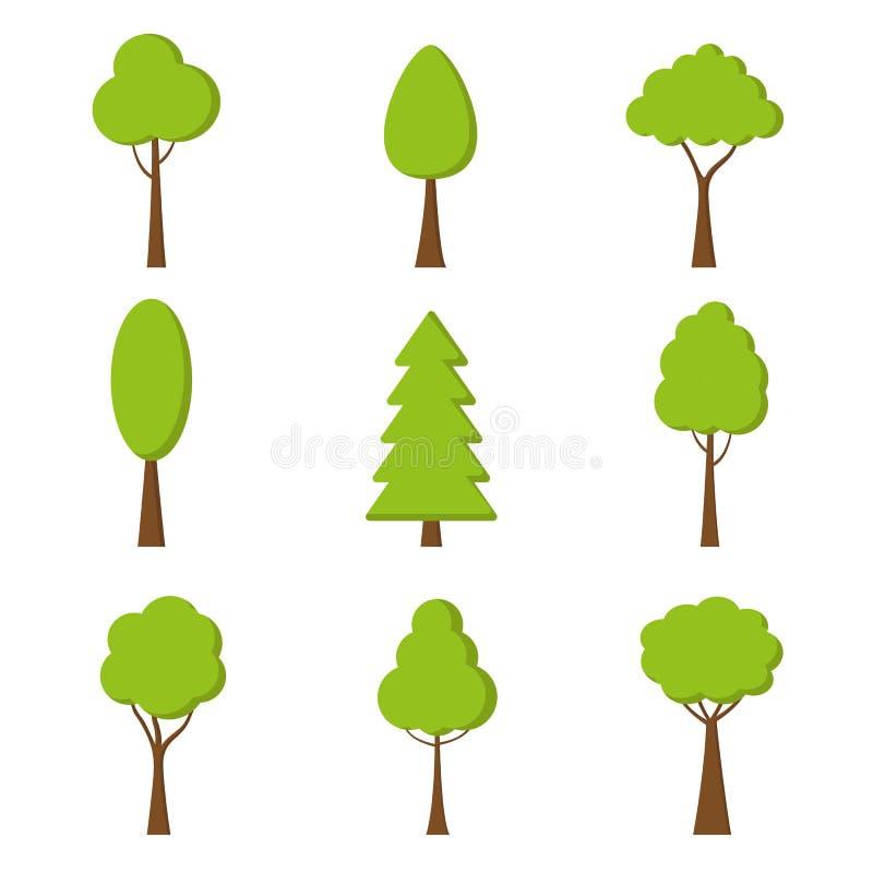 Icono del árbol Vector Símbolo de la naturaleza en diseño plano Plantas verdes del bosque Colección de elementos del diseño stock de ilustración