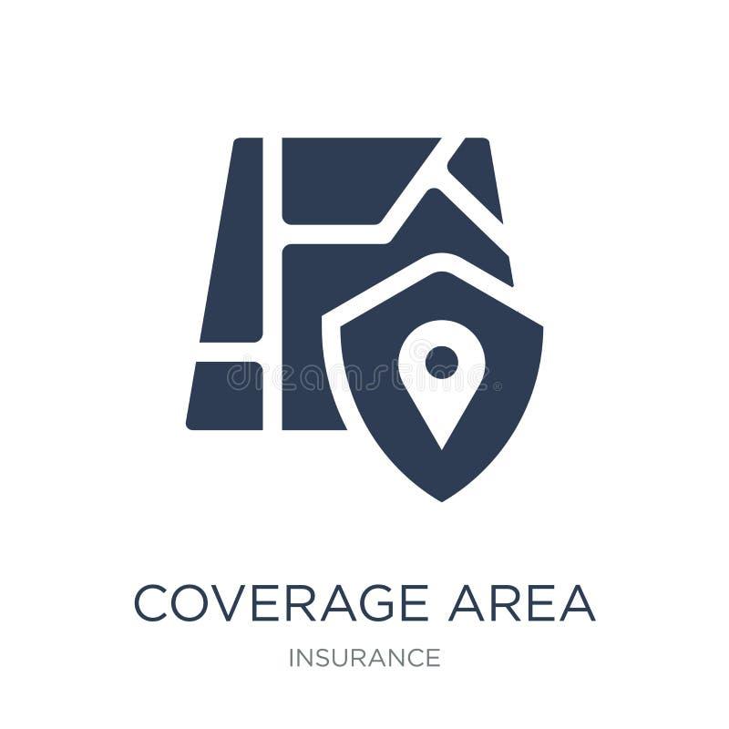 Icono del área de la cobertura Icono plano de moda del área de la cobertura del vector en whi libre illustration