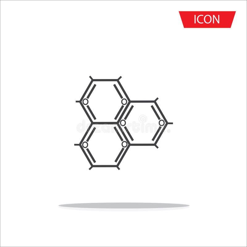 Icono del átomo del icono de la bioquímica stock de ilustración