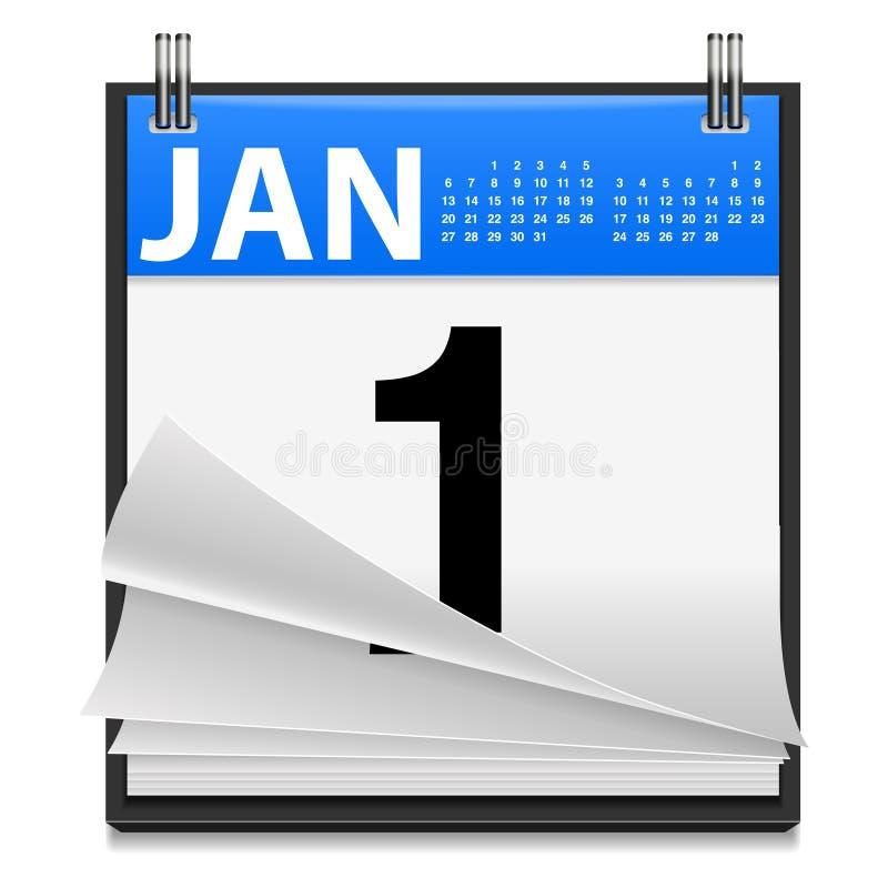 Icono del Año Nuevo del 1 de enero ilustración del vector