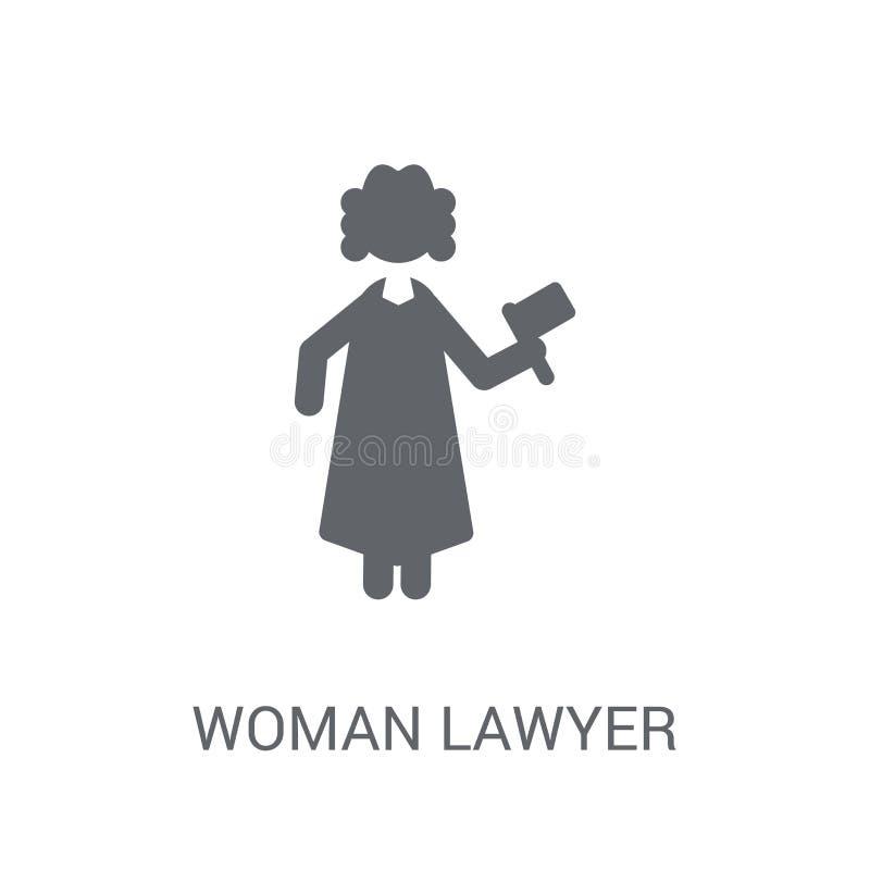 Icono del abogado de la mujer Concepto de moda del logotipo del abogado de la mujer en el CCB blanco ilustración del vector