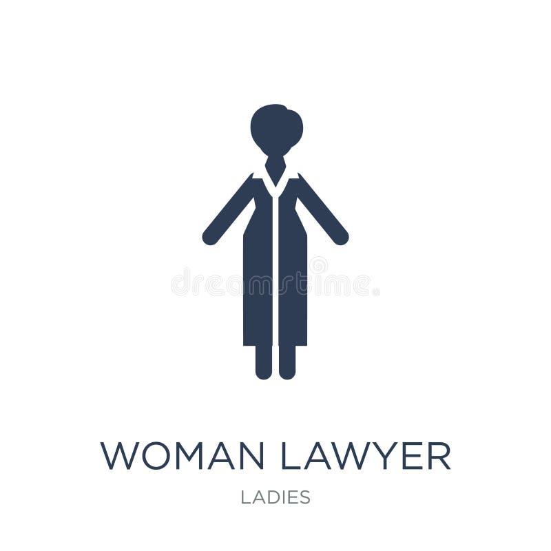 Icono del abogado de la mujer Icono plano de moda del abogado de la mujer del vector en blanco ilustración del vector