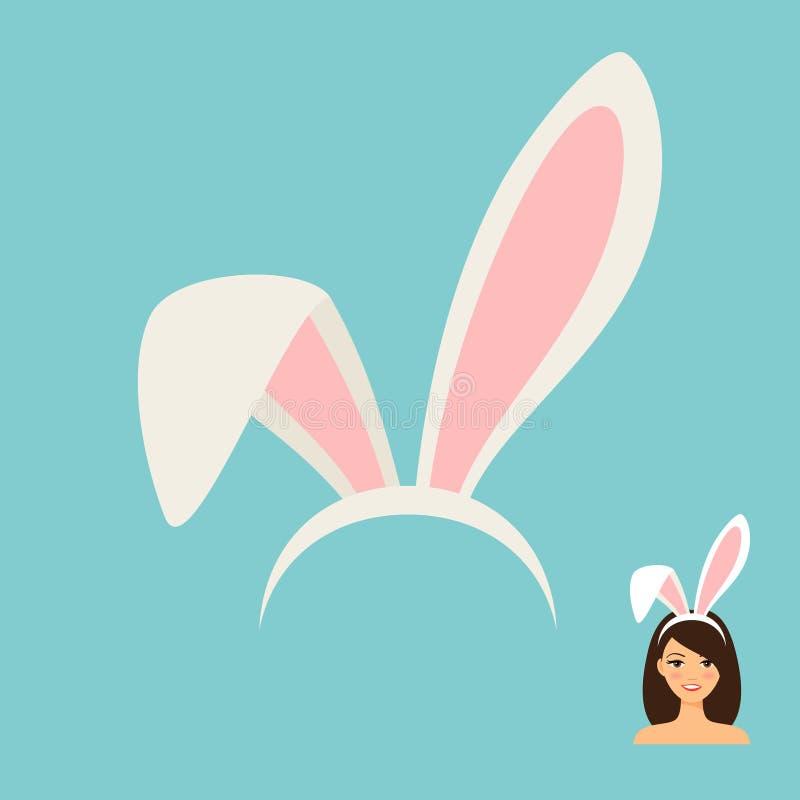 Icono del accesorio de los oídos del conejito ilustración del vector