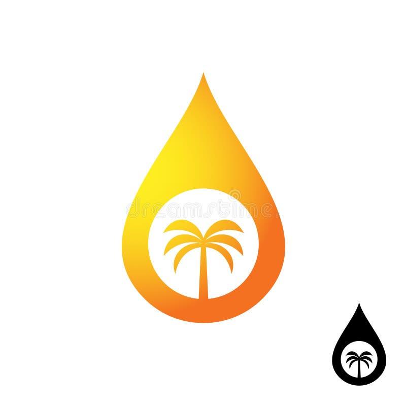 Icono del aceite de palma Descenso anaranjado del aceite con la silueta de la palmera ilustración del vector