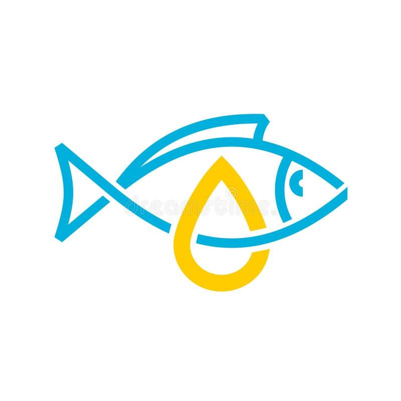 Icono del aceite de pescado Línea muestra del aceite de hígado de bacalao del estilo libre illustration