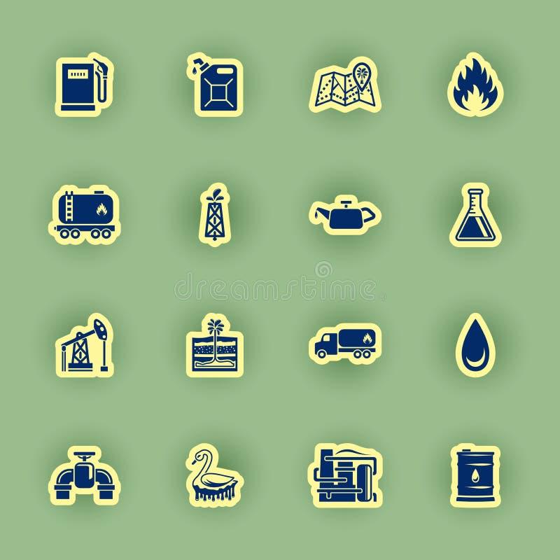Icono del aceite dieciséis fijado en verde stock de ilustración