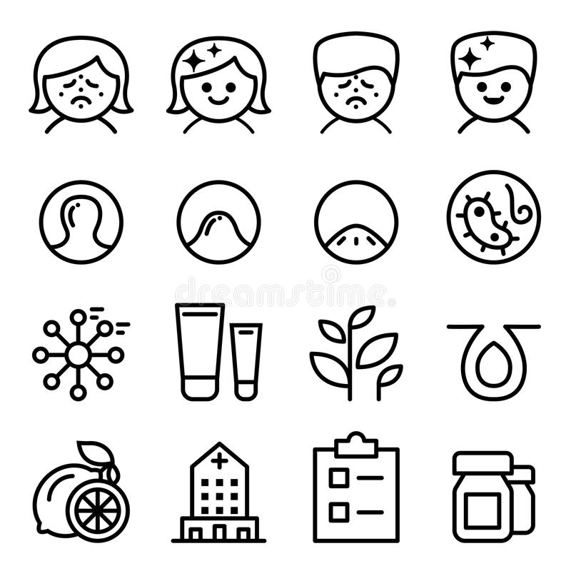Icono del acné fijado en la línea estilo fina ilustración del vector