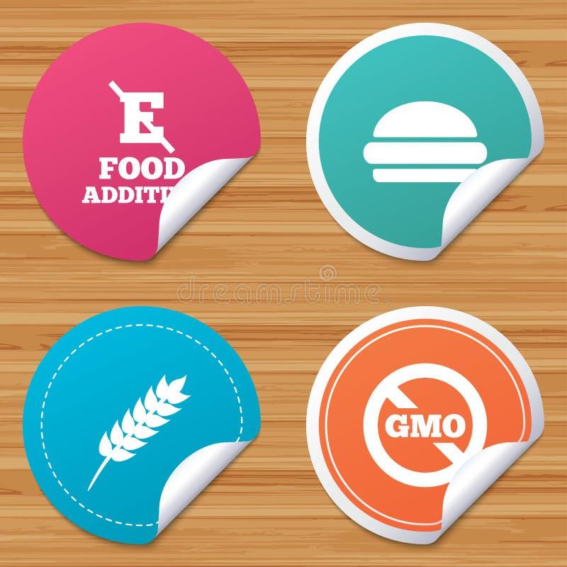 Icono del aditivo alimenticio Muestra de los alimentos de preparación rápida de la hamburguesa libre illustration