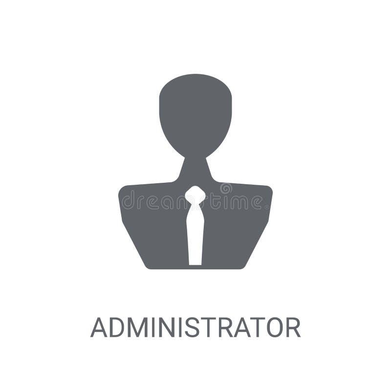 Icono del administrador Concepto de moda del logotipo del administrador en b blanco stock de ilustración