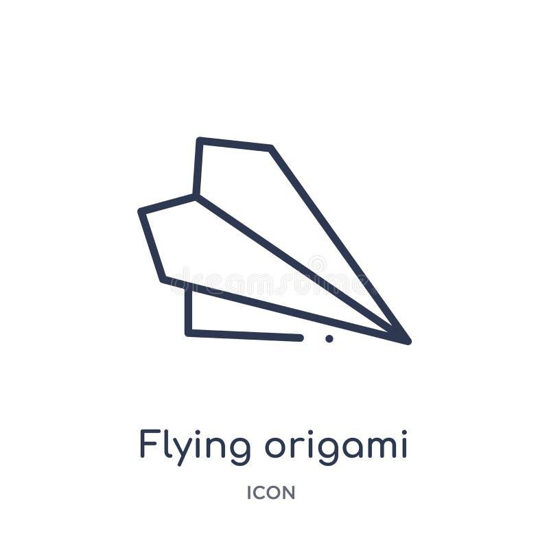 icono del aeroplano de la papiroflexia que vuela de la colección del esquema de la interfaz de usuario Línea fina icono del aerop ilustración del vector