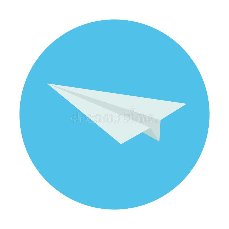 Icono del aeroplano de papel Ejemplo aislado en el fondo azul Arte del origami Envíe el concepto del mensaje stock de ilustración